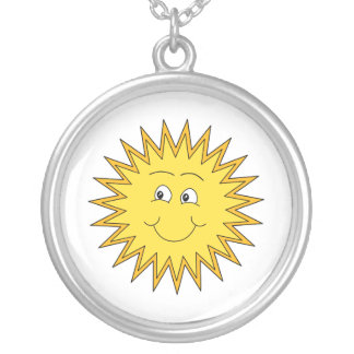 Yellow Summer Sun with a Happy Face. Personalized Necklace