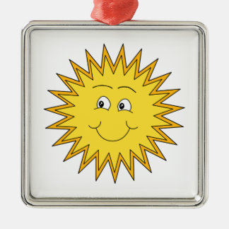 Yellow Summer Sun with a Happy Face. Square Metal Christmas Ornament