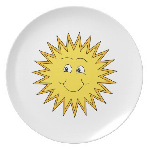 Yellow Summer Sun with a Happy Face. Party Plates