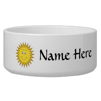Yellow Summer Sun with a Happy Face. Pet Food Bowl