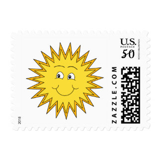 Yellow Summer Sun with a Happy Face. Postage