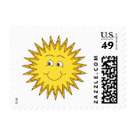 Yellow Summer Sun with a Happy Face. Postage Stamps