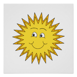 Yellow Summer Sun with a Happy Face. Poster