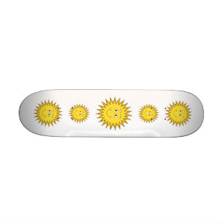 Yellow Summer Sun with a Happy Face. Skate Deck