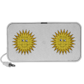 Yellow Summer Sun with a Happy Face. Laptop Speakers