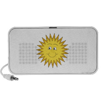 Yellow Summer Sun with a Happy Face. Portable Speaker