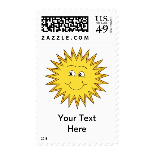 Yellow Summer Sun with a Happy Face. Stamp