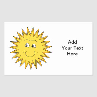 Yellow Summer Sun with a Happy Face. Rectangular Sticker