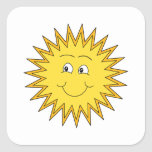 Yellow Summer Sun with a Happy Face. Square Stickers