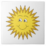Yellow Summer Sun with a Happy Face. Tile
