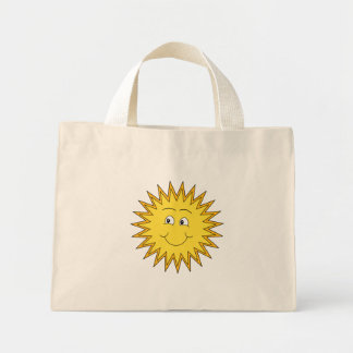 Yellow Summer Sun with a Happy Face. Tote Bags