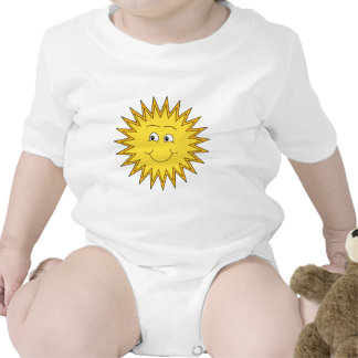 Yellow Summer Sun with a Happy Face. Baby Bodysuits