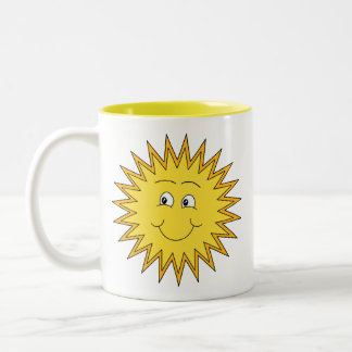 Yellow Summer Sun with a Happy Face. Two-Tone Coffee Mug