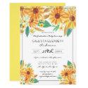 Yellow Summer Sunflower Watercolor Graduation Invitation