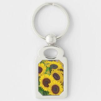 Yellow summer sunflowers metal keychain