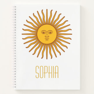 Yellow Sun Astrology Planet Personalized Name Note Notebook