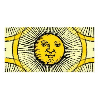Yellow sun face line drawing with rays and circle card