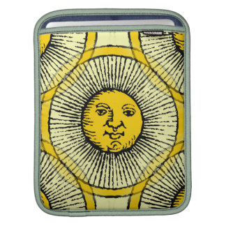Yellow sun face line drawing with rays and circle iPad sleeve