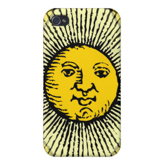 Yellow sun face line drawing with rays and circle iPhone 4 covers