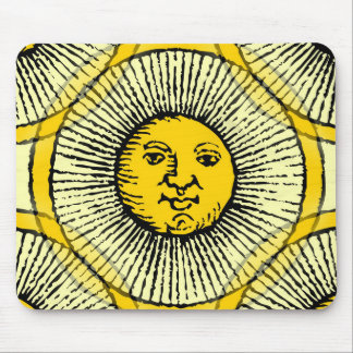 Yellow sun face line drawing with rays and circle mouse pad