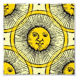 Yellow sun face line drawing with rays and circle photo print