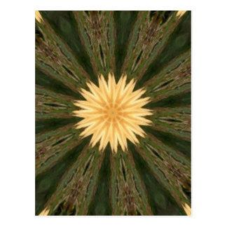 Yellow Sun Green Grass Kaleidoscope Postcard