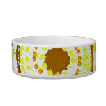 Yellow Sun in Lights Grunge Cutout Cat Water Bowl