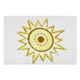 Yellow Sun in Lights Grunge Cutout Poster