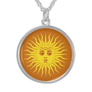 Yellow sun of Argentina, custom background Round Pendant Necklace