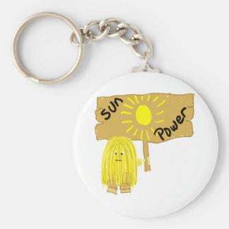 Yellow Sun Power Basic Round Button Keychain