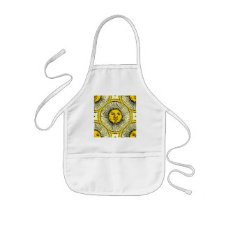 Yellow sun rays face line drawing repeated kids' apron