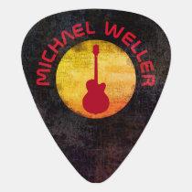 yellow sun & red-guitar, add-name guitar pick