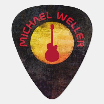 Yellow Sun & Red-guitar  Add-name Guitar Pick by mixedworld at Zazzle