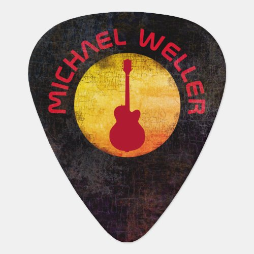 yellow sun  red_guitar add_name guitar pick