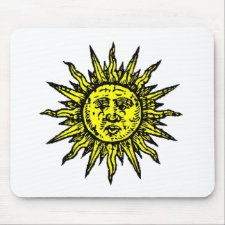 Yellow Sun Symbol Mouse Pads