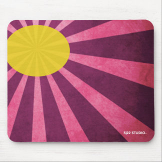 Yellow Sun with Purple Sunbeam Mouse Pad