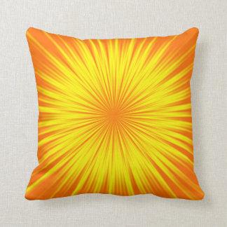 Yellow Sunburst Abstract Pillows