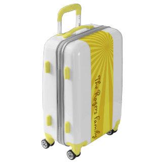 "Yellow Sunburst ""Add Your Name"" Luggage"
