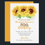 "Yellow Sunflower 80th Birthday Invitation<br><div class=""desc"">Yellow sunflower floral 80th birthday invitation. This watercolor sunflower adult birthday invitation is a good choice for a summer birthday or a fall / autumn birthday. This yellow sunflower flower 80th birthday invitation features beautiful watercolor yellow sunflowers with green leaves. This cottage chic, rustic, or country sunflower birthday invitation has...</div>"