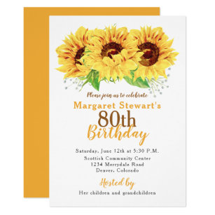 Yellow Sunflower 80th Birthday Invitation