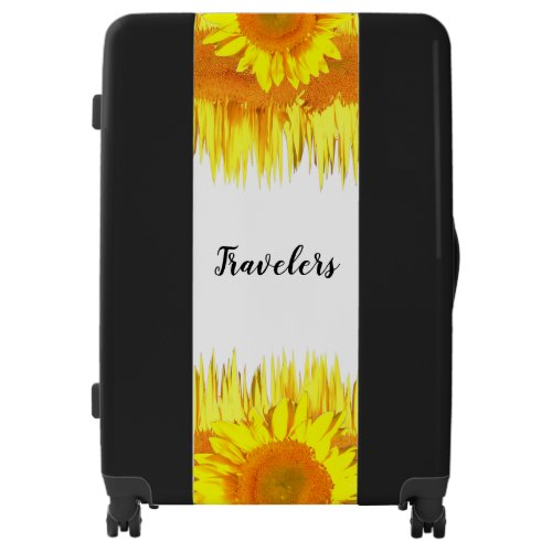 Yellow Sunflower accent Black Luggage