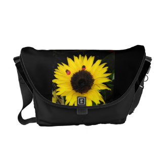 Yellow Sunflower And Two Ladybugs Courier Bag