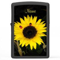 Yellow Sunflower And Two Ladybugs Zippo Lighter