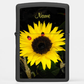 Yellow Sunflower And Two Ladybugs Zippo Lighter