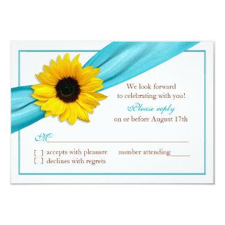 Yellow Sunflower Aqua Blue Ribbon Wedding RSVP Card