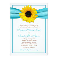 Yellow Sunflower Aqua Ribbon Wedding Invitation (<em>$2.27</em>)