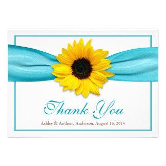 Yellow Sunflower Aqua Ribbon Wedding Thank You Custom Announcements