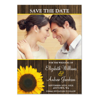 Yellow Sunflower Barn Wood Photo Save the Date 4.5x6.25 Paper Invitation Card