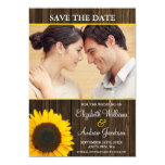 Yellow Sunflower Barn Wood Photo Save the Date Card