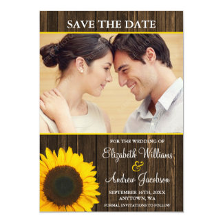 Yellow Sunflower Barn Wood Photo Save the Date 5x7 Paper Invitation Card